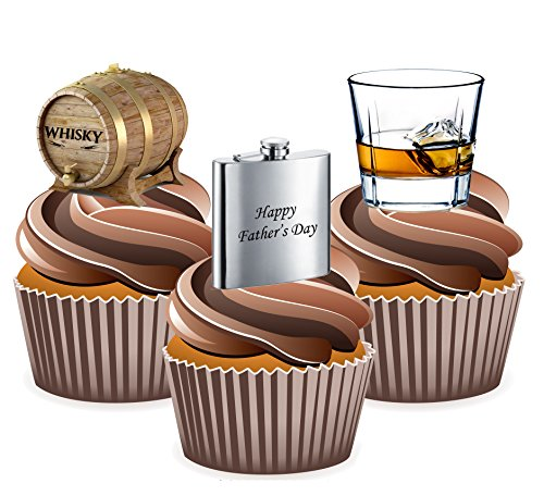 AKGifts Fathers Day Whiskey Themed - 24 Cup Cake Toppers - Edible Stand Up Decorations (7 - 10 BUSINESS DAYS DELIVERY FROM UK) (Fathers Day Cupcakes)