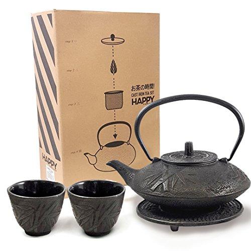 (Happy Sales HSCT-MBB22, Cast Iron Tea Pot Tea Set Mochi Bamboo Black)