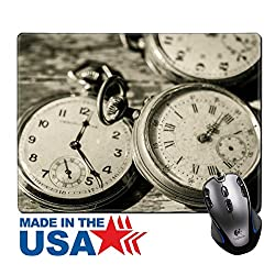 """MSD Natural Rubber Mouse Pad/Mat with Stitched Edges 9.8"""" x 7.9"""" old clocks vintage picture in wood background IMAGE 19932037"""