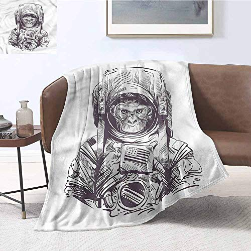 (HCCJLCKS Hypoallergenic Blanket Outer Space Monkey with a Mission Digital Printing Blanket W70 xL93 Traveling,Hiking,Camping,Full Queen,TV,Cabin)