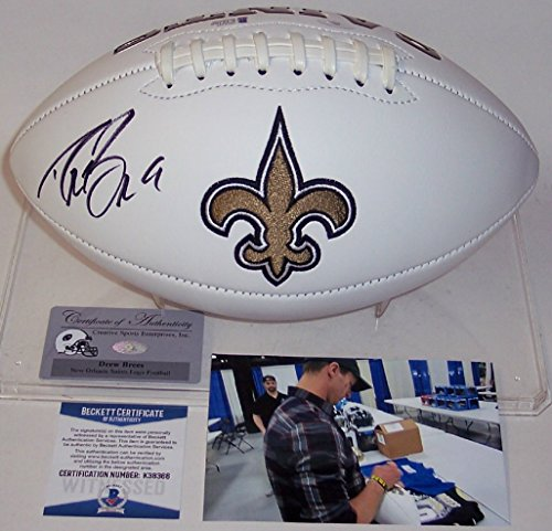 Drew Brees Autographed Hand Signed New Orleans Saints Logo Full Size Football - BAS Beckett by Creative Sports