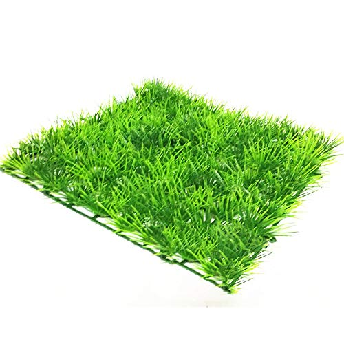 (Merssavo 25 X 25cm Simulation Fine Pine Needles Lawn Aquarium Lawn Landscape Decoration Plastic Fish Tank Green Artificial Grass Lawn Decor Accessories)