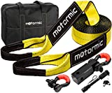 motormic Tow Strap Heavy Duty Recovery Gear - Complete Recovery Strap Set with 3'' X30' (30k lbs.) Tow Rope + 2'' Shackle Hitch Receiver + 5/8 Pin Lock + 3/4 D Ring Shackles + Bag (Yellow&Black)