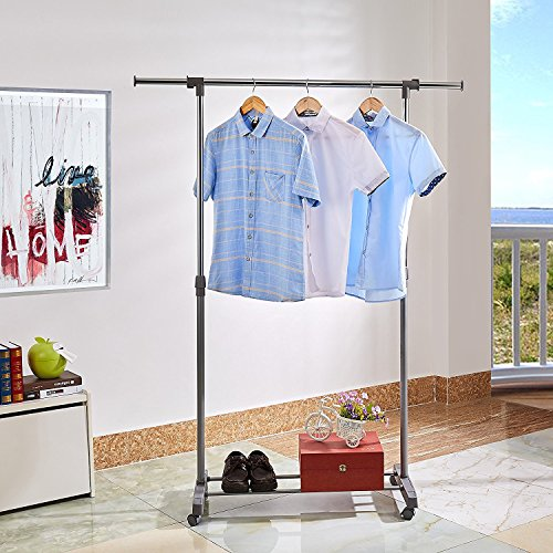 PROAID Single Portable Clothes Rack Rolling Clothing Hanging Rod Adjustable Garment With Wheels Gray Chrome Home Garden Household Supplies