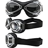 Nannini Streetfighter Padded Motorcycle Goggles Hand-Sewn Black Leather Frames Grey Anti-Fog Lenses