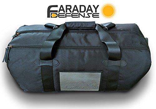 Faraday Defense EMP Duffel Bag XL Heavy Duty Black - Bug Out Molle Duffle Bag: EMF, Privacy, Anti-tracking, Shielding for Law Enforcement and Military - Dual Compartment Design