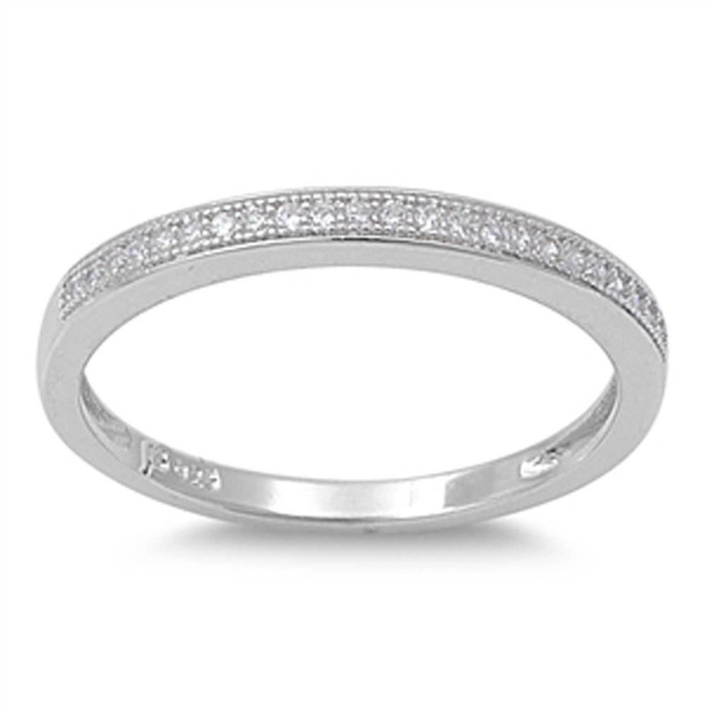 Sterling Silver Women's White CZ Cute Wedding Ring 925 Thin Band 2mm Sizes 4-10 Sac Silver