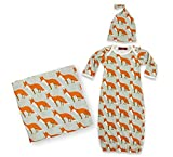MilkBarn Zebi Baby Newborn Keepsake Set Swaddle Gown Hat Orange Fox