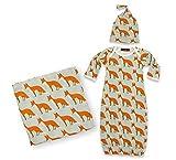 MilkBarn Zebi Baby Newborn Keepsake Set Swaddle Gown Hat Orange Fox