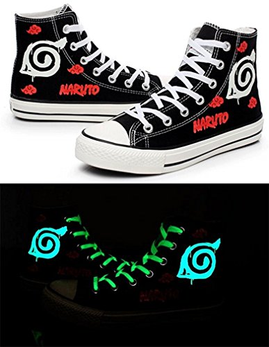 Bromeo Naruto Unisexe Toile Salut-Top Sneaker Baskets Mode Chaussures Lumineux