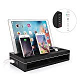 Masvoker Apple Watch Stand & iPhone,iPad Pro12.9/9.7, Surface Pro 4,iWatch Charging Dock Station, Wooden Frame+Premium PU Leather+ 6 Ports Smart Charger,Charging Dock for Smart phones & Tablets
