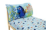 Disney Finding Dory 2 Pack Fitted Sheet and Pillowcase Toddler Sheet Set, Blue/Orange/Yellow