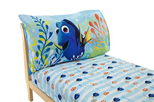 Disney Finding Dory 2 Pack Fitted Sheet and Pillowcase Toddler Sheet Set, (Toddler Bed Fitted Sheet)