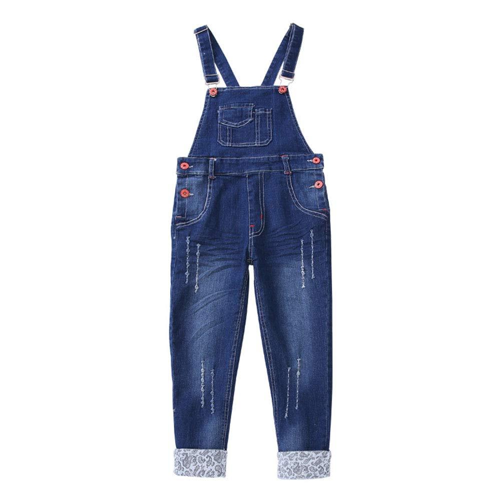 Digirlsor Kids Girls Adjustable Strap Long Jeans Cotton Suspender Denim Bib Romper Overalls, 3-14Y DC118