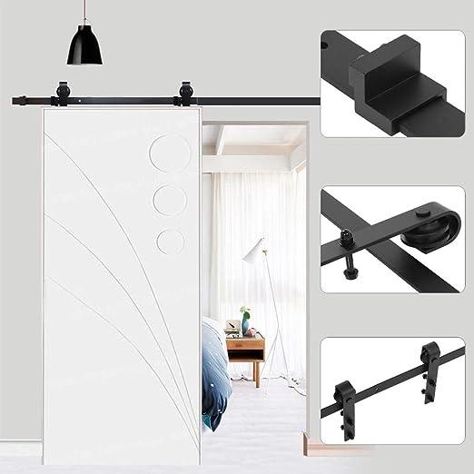 Kit de riel de puerta corredera para puerta corredera, polea de riel colgante, sistema de puerta corredera para puerta corredera, interior, separadores grandes: Amazon.es: Bricolaje y herramientas