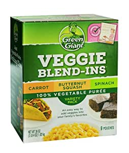 Green Giant Veggie Blend-Ins 100% Vegetable Puree, Variety Pack, 36 Ounces (9 Pouches)