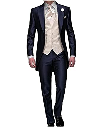 Men\'s Navy Blue Groom Tuxedos 3 Pieces Tailcoat Wedding Suits Long ...