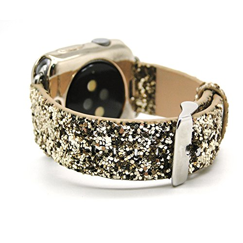 Style Bling Watch (Apple Watch Replacement band 42mm Leather iwatch strap Band with Stainless Metal Clasp for apple watch Series 3 Series 2, Series 1, Sport, Edition -Gold Bling)
