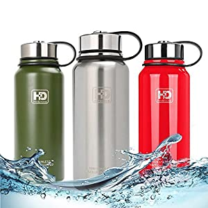 Large 50 oz Vacuum Insulated Stainless Steel Water Bottle, Double Walled, Leak Proof and Built-in Filter, Food Grade Wide Mouth Coffee Mug for Travel Camping Outdoor Sports, Keeps Drink Hot & Cold