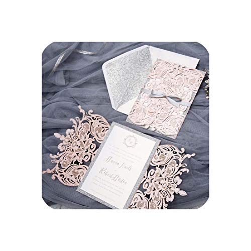 ((50 pieces/lot) European High end Pink Wedding Invitation Card Laser Cut Floral Glittering Engagement Baptism Invitations IC120P,Pink,M)