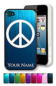 Engraved Aluminum iPhone 4/4S Case/Cover - PEACE SIGN - Personalized for FREE