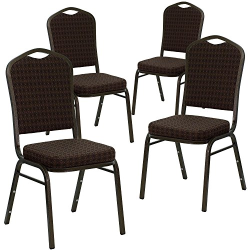 Flash Furniture 4 Pk. HERCULES Series Crown Back Stacking Banquet Chair in Brown Patterned Fabric - Gold Vein Frame