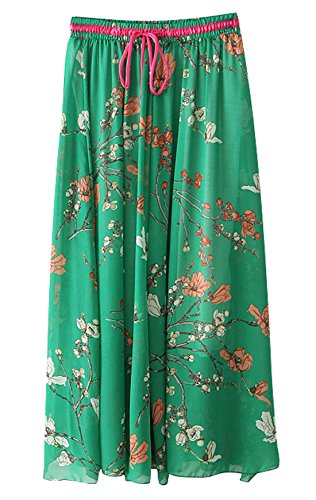 Chartou Women's Craceful Chiffon Mid-Calf Flowy Boho Beach Skirt (Large, A03)