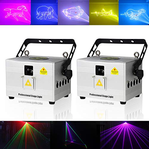 V-Show 2PCS LED Stage Light 3W RGB Laser Scanner for Show Party, Stage Laser Light Animation DMX LED Projector for KTV, club, party, pub, bar, banquet, school show projector