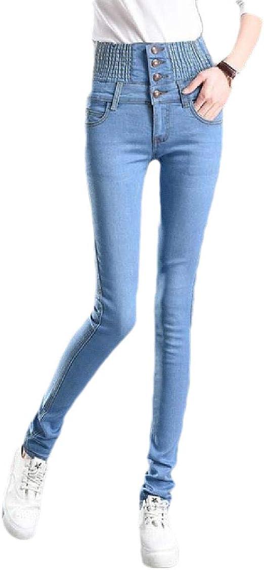Tootess 女性カジュアルウォッシュハイウエストトリムフィットストレッチジーンズポケット付き