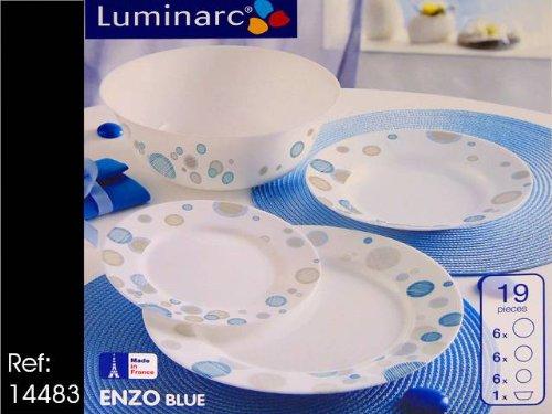 Luminarc vajilla 19 pzas enzo azul turquesa - Platos luminarc precios ...