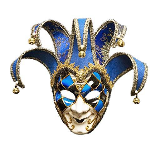 Full Face Venetian Jolly Jester Mask Masquerade Halloween Christmas Party (Blue) ()