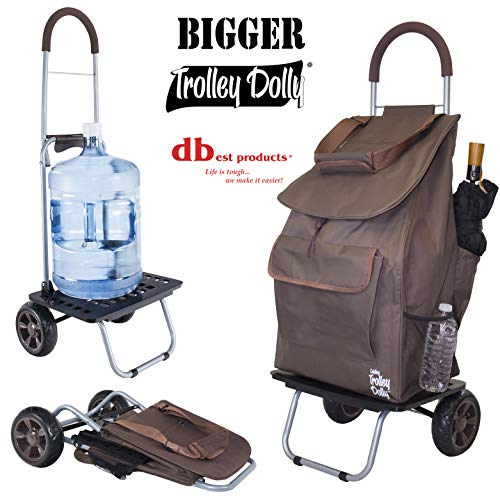 Bigger Trolley Dolly, Brown  Shopping Grocery Foldable - Rolling Shopping Tote Collapsible