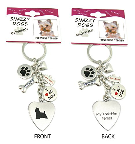 Yorkshire Terrier Keychain for Women, Girls, Boys, Men - Engraved Stainless Steel Dog Key Ring with Charms – Cute I Love My Dog Key Fob Gift - Cute Pet Accessories - Charm Yorkshire Dog