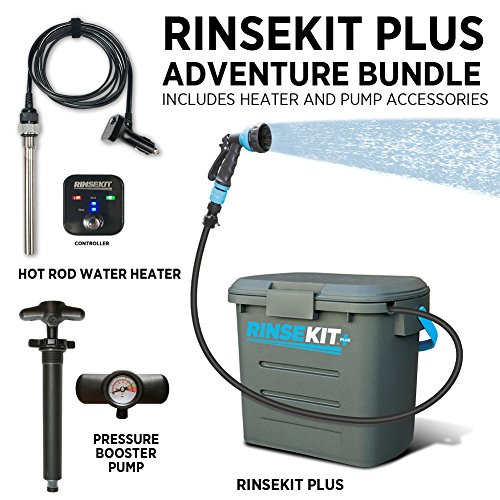Rinse Kit Plus Adventure Bundle Portable Outdoor Shower | 2 Gallons | Pressurized Spray for 6 Minutes | Great for Camping, Surfing, Pets, Sports, Convenient and BPA Free ()