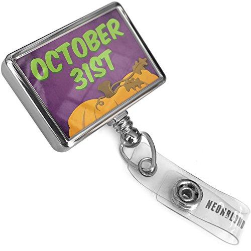 (Retractable Plastic ID Badge Reel October 31st Halloween Pumpkin Top with Bulldog Belt Clip On Holder)