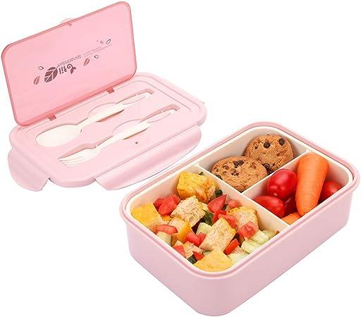1050ml Caja de Almuerzo de Plástico Rosa Claro, Caja de Bento con 3 Compartimentos y Cubiertos (Tenedor y Cuchara), Fiambreras Caja de Alimentos Ideal para Almuerzo y Bocadillos para Niños y Adultos: