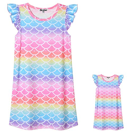 Matching Girls & Dolls Nightgowns Flutter Sleeve Mermaid Sleepwear Pjs -