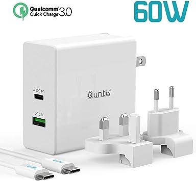 Quntis Cargador PD USB C 60W Puerto Súper Rápido Adaptador de ...