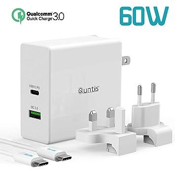 Quntis Cargador PD USB C 60W Puerto Súper Rápido Adaptador de Viaje Universal QC 3.0 Charger [Cable cac 1,5m] Enchufe EU UK US para Macbook Pro, ...