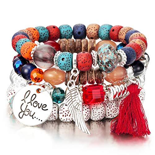 Meangel Beaded Bracelet for Women Girls Multilayer Bohemian Strand Bangle Charm Stretch Bracelet Beach Boho -