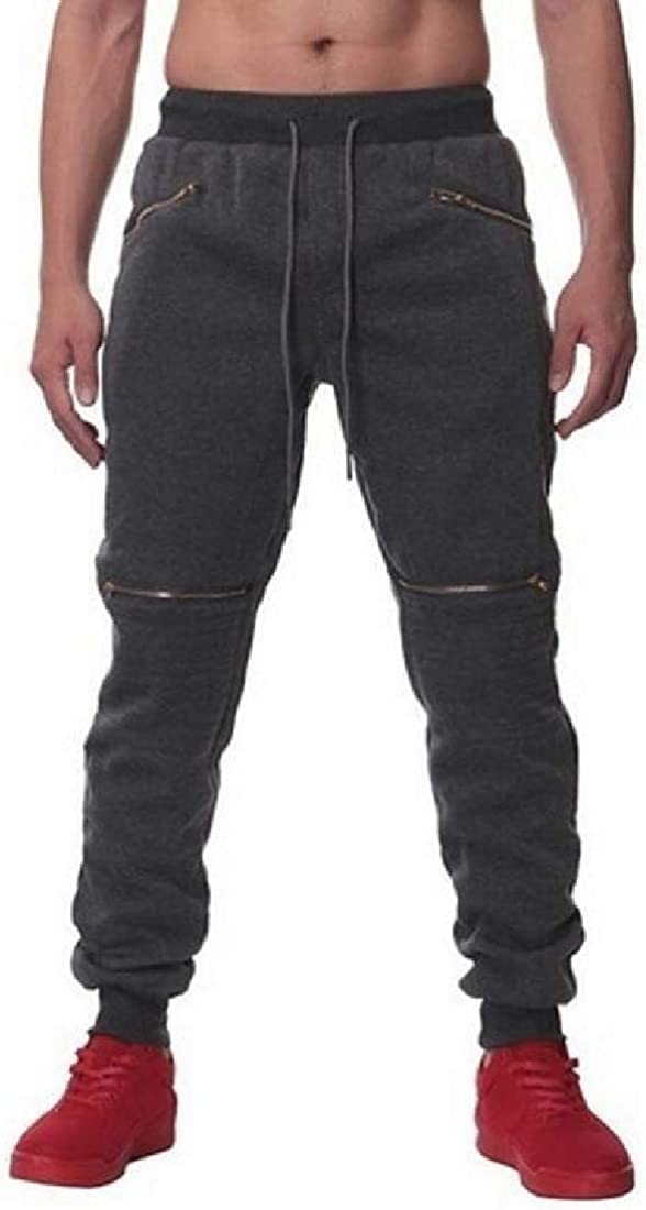 CRYYU Men Athletic Casual Zip Trim Solid Color Sweatpants Jogger Pants Trousers
