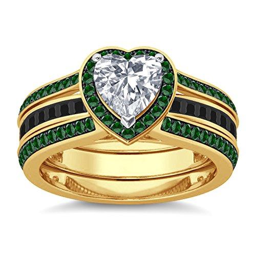 Silvergemking 4.89Ct Heart Shape Green Garnet Sim Diamonds Interchangable Ring Set 14K Yellow Gold Finish ()