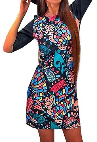 Minetom Mujeres de la Vendimia de Boho del Verano Manga Corta Impresión de Flores Playa Corta Impresa Mini Vestido A04