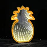 QiaoFei 3D Creative Tunnel Lamp,LED Infinity Mirror Light/Cute Pineapple Sign Night Light for Chistmas,Birthday party,Kids Room, Living Room, Wedding Party Decor(Yellow)