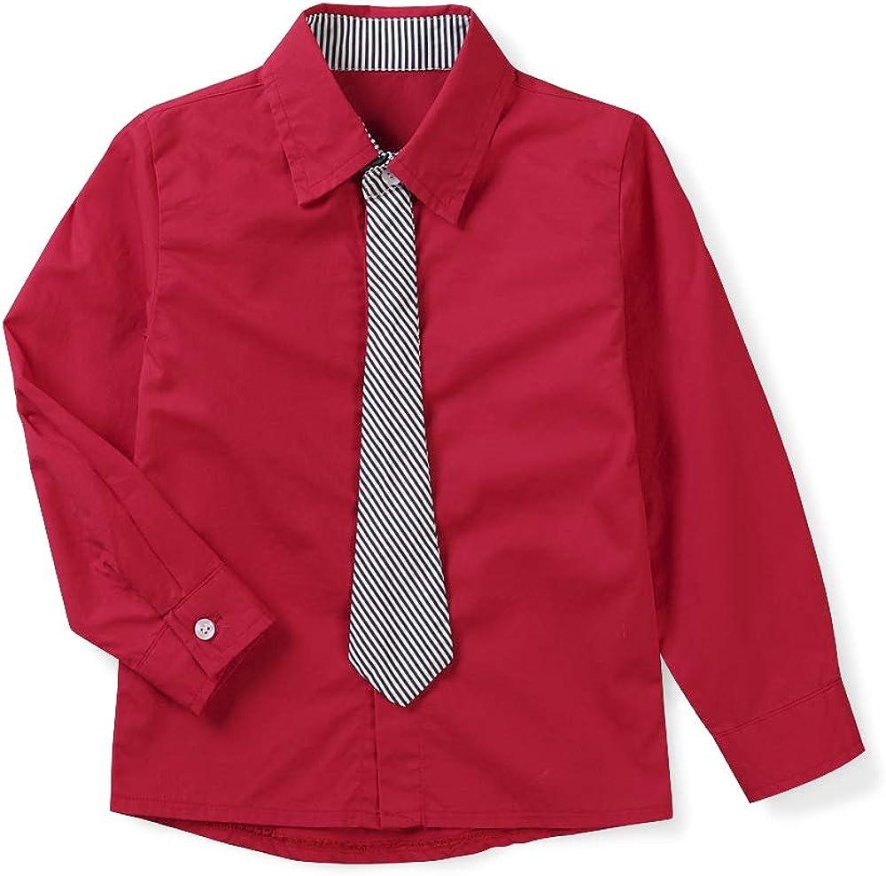 con cravatta Aeslech Vestito da ragazzo a maniche lunghe con bottoni