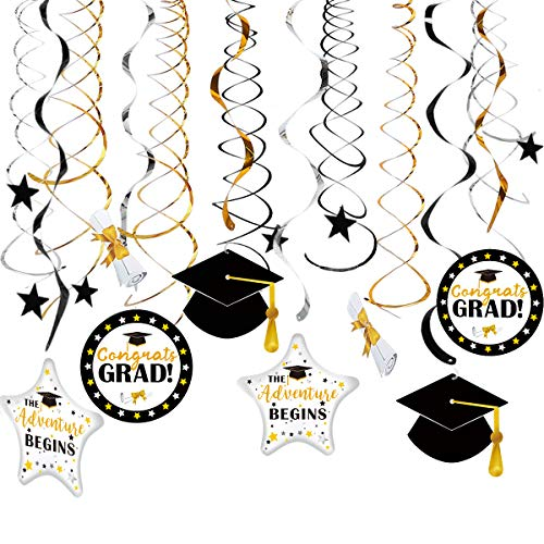 (Graduation Hanging Decorations Swirls Kit for Congrats Class of 2019 Gold Black Silver Swirls with Celebration Card Ceiling and Door Academic Cap Star Adventure Begins Dangling Classroom Decoration)