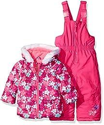 Wippette Girls\' Baby Flower Print Snowsuit, Pink Glow, 12 Months