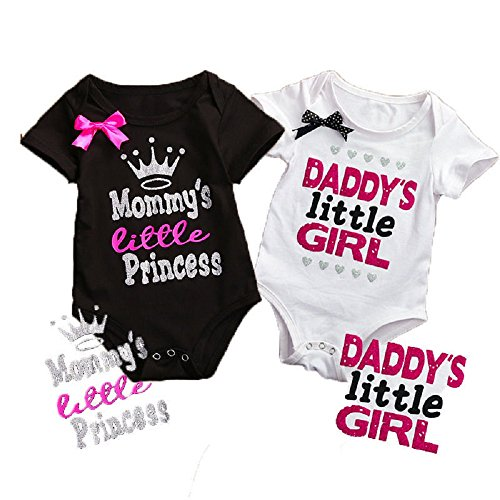 2 Pack Newborn Baby Girls Romper Jumpsuit Letters Printed Mommy's Little Princess & Daddy's Little Girl Summer Baby Cloth (3-6 Months)