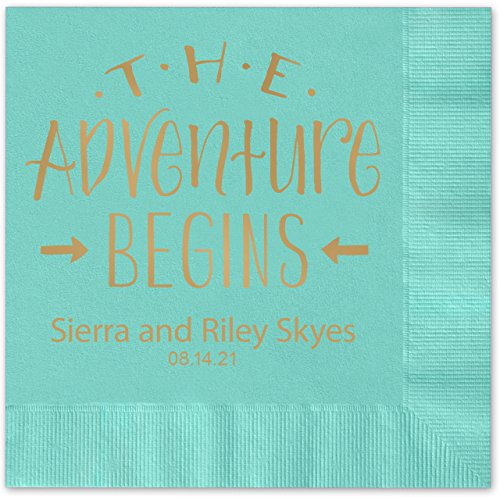 The Adventure Begins Personalized Beverage Cocktail Napkins - 100 Custom Printed Aqua Paper Napkins with choice of (Rose Beverage Napkins)