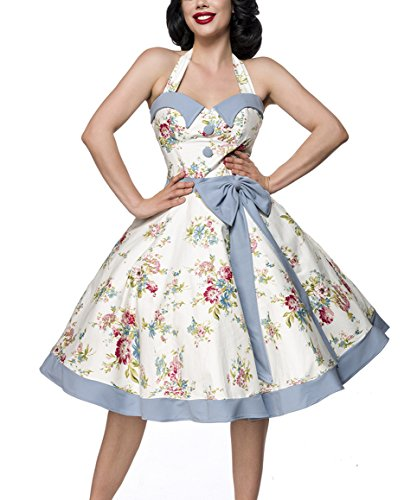 Floral azul Unbekannt Sin Vestido Mujer Trapecio Para Blanco Mangas Pxpx8